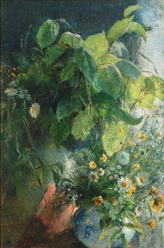 chasingtailfeathers:    Bertha Wegmann  (Danish 1847-1926)   Stilll Life with Bunch of Wild Flowers