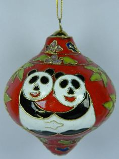 Red Cloisonne Enamel Gyro Shape Ball Home Ornament,Giant Panda & Bamboo Pattern