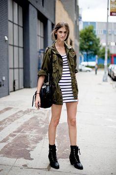olive cargo jacket. striped t-shirt dress. black combat boots. black satchel. minimalist. Green Cargo Jacket, Absolutely Fabulous, Vogue Fashion, Summer Looks, Thrifting, Army Green, Tunics, Dress Up, Grunge