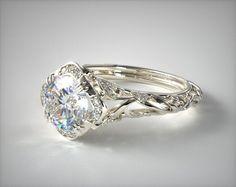 52620 engagement rings, vintage, 14k white gold diamond filigree engagement ring item - Mobile