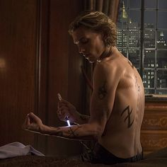 For your viewing pleasure...a shirtless Jace applying a rune @Mortal Movie