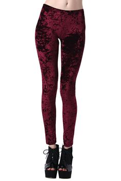 Classic Gold Velvet Wine-red Leggings. Description Wine-red leggings, featuring a contrast waistband, a stretchy waist, narrow leg and in a soft skinny fit finish. Fabric Polyester Washing 40 degree machine wash, do not bleach, do not tumble dry, cool iron on reverse, do not dry clean. Romwe