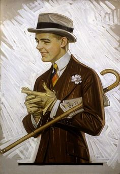 I have a book of this guy's work if anyone wants to look through it. He did lots of menswear illustrations. J. C. Leyendecker