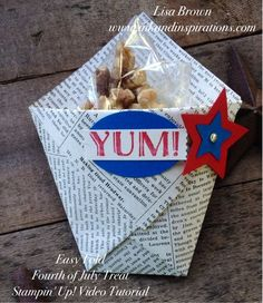 This is the easiest treat or party favor you'll ever make! http://www.inkandinspirations.com/2015/06/quick-and-easy-stampin-up-fourth-of-july-treat-and-video-tutorial.html