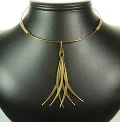 1960s Studio Modernist Tribal Style Ring Pendant Necklace