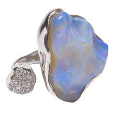 Australian Opal & Diamond White Gold Ring Singapore