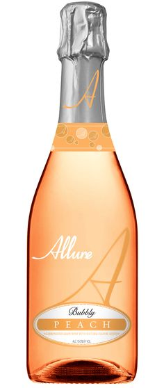 """Allure Peach Moscato - """"The scrumptious flavor of a peach bursting with ripeness combined with the floral and fruity essences of our Symphony wine is summer captured in a glass. The palate is further roused by a frenzy of lively bubbles and enticing sweetness."""