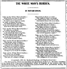 the White Man's burden by Kipling