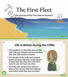 Teaching Resource: A 15 slide editable PowerPoint presentation to use when teaching students about the First Fleet. Teaching Plan, Student Teaching, Teaching Resources, Australia Day, Australia Travel, First Fleet, Genealogy Sites, Unit Plan, Australian Curriculum