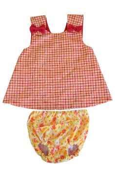8-12 Months: Pink and Yellow Gingham, Pinafore Dress and Bloomers Set