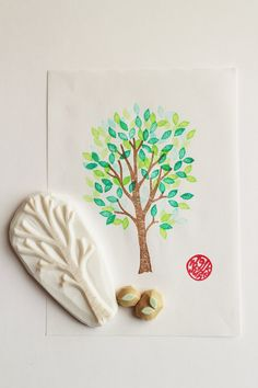 *birch tree hand carved rubber stamps/woodland stamps/wedding guestbook stamp. set of 3.  tree trunk stamp/2 leaf stamps. all parts are separated so