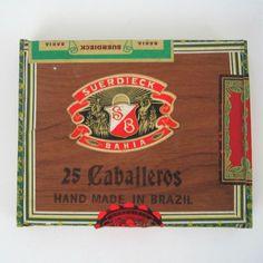 Vtg Cigar Box Wood Suerdieck Bahia SB Brazil Caballeros Brasil #SuerdieckBahia
