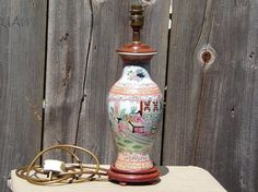 Confident Old Japanese Satsuma Table Lamp With Crane Shade …beautiful Accent Piece Asian Antiques