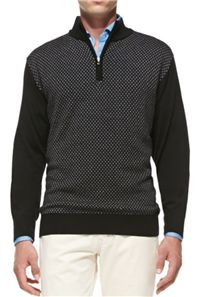 Peter Millar - Thai Jacquard 1/2-Zip Sweater: The black and grey jacquard pattern in this cotton sweater provides a dash of character.