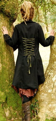 Damia wool coat - Black OR Brown with grey OR light brown inlaid cutwork - Coats - Goddess Clothing