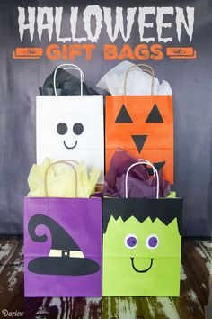 These cute DIY Halloween bags are so cute and simple to make. Use for Halloween treats and gifts or even as a trick or treat bag for the big night!
