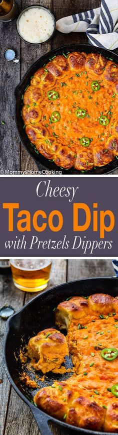 This Cheesy Taco Dip with Garlic Pretzels Dippers is just what the party or game day calls for. It's cheesy, meaty, creamy, and extremely easy to make. This delicious dip is guaranteed to be a hit with your crowd. http://mommyshomecooking.com