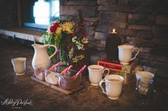 Styled Rustic Winter Wedding at Spruce Mountain Ranch, Larkspur CO, hot cocoa bar