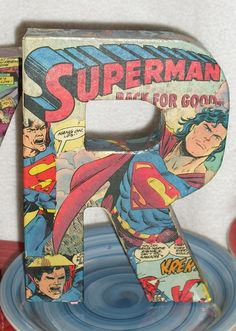 Custom Made to Order Comic Book Letters Wall Hangers by melrowe, $10.00 on Etsy.  Look awesome in Pman's room!