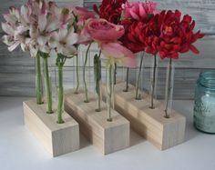 DIY Test Tube Vase Unfinished wood flower vase by LynettesArt
