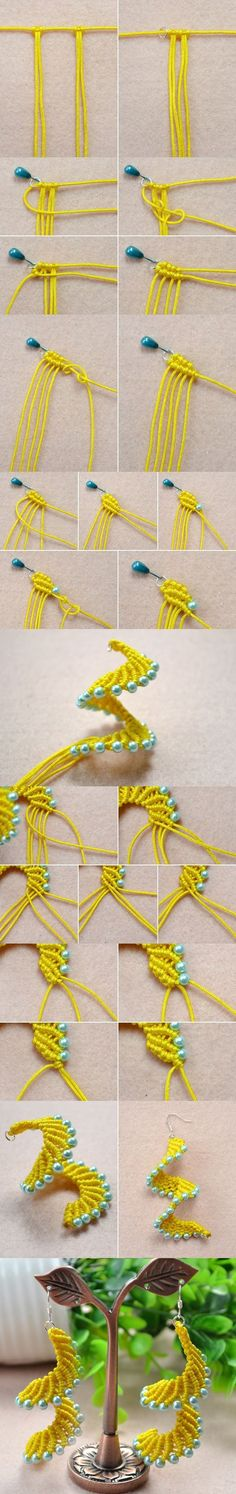 Macramé Spiral Earrings - How to Make Knitted Earrings Patterns with Pearl Beads from LC.Pandahall.com #pandahall