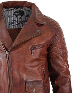 Veste marron pour homme en véritable cuir vielli avec fermeture éclair  style motard vintage retro décontracté d495b366b4e