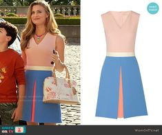 Paige's pink and blue colorblock dress and fish print bag on Royal Pains.  Outfit Details: https://wornontv.net/58515/ #RoyalPains
