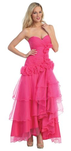 Fuchsia Formal Gown Strapless Soft Chiffon Layered Skirt Flowers $177.99