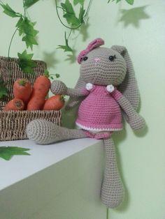 My completed crochet bunny with pattern from http://www.creativaatelier.com/peluche-amigurumi-crochet-conejita/