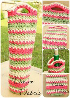 free crochet pattern: Willow Bottle Holder Pattern by Divine Debris Crochet Kitchen, Crochet Home, Crochet Gifts, Free Crochet, Crochet Basket Pattern, Crochet Patterns, Crochet Ideas, Knitting Patterns, Wine Bottle Covers