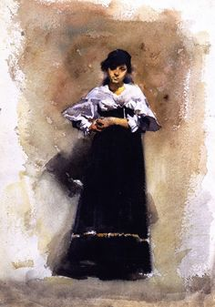 Young Woman in a Black Skirt | John Singer Sargent | oil painting