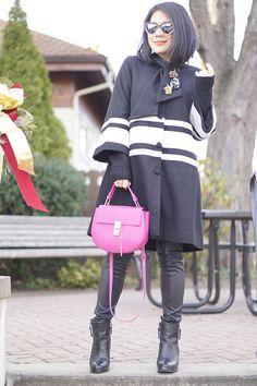 Petite street style Julie Brown black and white coat+black faux leather skinny+ DV black booties+ Pink bag+ Prism sunglasses