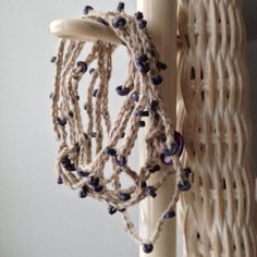 Violet  Beaded Crocheted Linen Necklace or Bracelet by chain1purl2, $16.80
