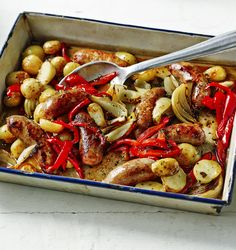 One tin roasted sausage supper. This will become a firm family favourite as it can be cooked in one dish and is so quick and easy to put together.