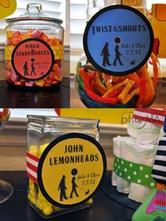 "Beatles themed reception | Close up candy shots…I mean, come on…""John Lemonheads"" and ..."