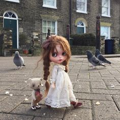 """""""I see you looking at the pigeons Ted.....I hope you're not thinking of eating their bread!"""" #pigeon  #feedingthepigeons  #cambridge  #gbaby  #dewdropteddybears  #england  #kawaii  #blythedoll  #dollphotography  #dakawaiidolls  #ootd"""