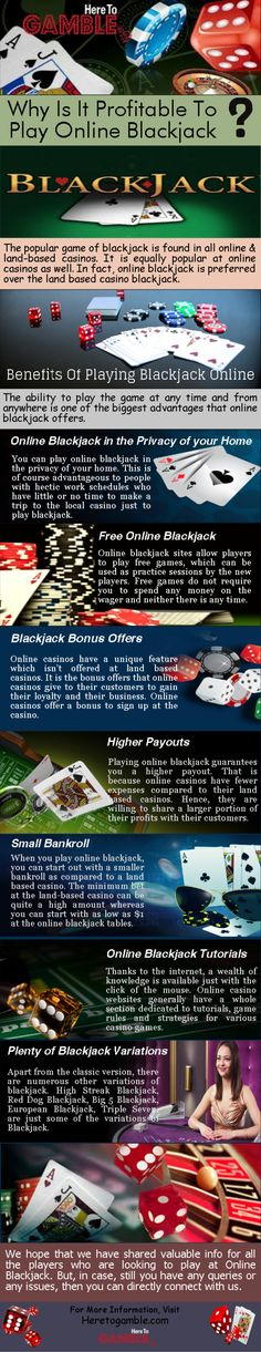 In this #Infographic, we present  the #benefits to playing online #blackjack. HereToGamble.com #Casino