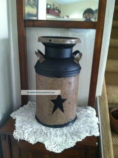 Primitive,  Americana,  Country,  Farmhouse Vintage,  Antique Milk Can Decor Primitives photo