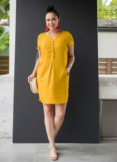Vestido de Linho Amarelo - bonprix Fashion Wear, Hijab Fashion, Fashion Dresses, Modele Hijab, Short Gowns, Casual Dress Outfits, Dresses For Work, Summer Dresses, Linen Dresses