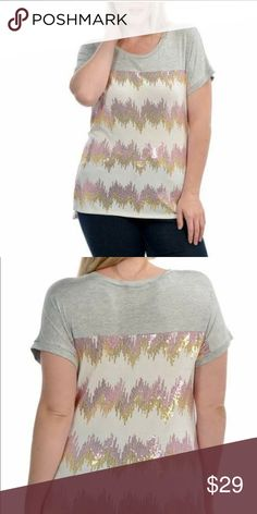 Womens Plus Sequins Top This shirt is adorable! Ombré chevron sequins pattern with short sleeves Bellino Clothing Tops Tees - Short Sleeve