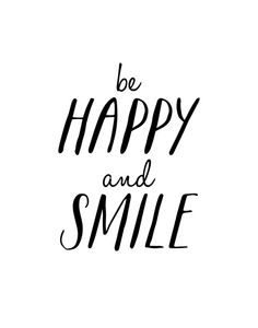 Typographic Art Be Happy and Smile Wall Art by TheMotivatedType