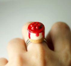 Cherry Cheesecake Frenzy Ring. Handmade Miniature Polymer Clay Food Jewelry