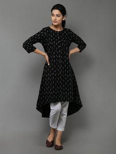 Buy Black Cotton High Low Kurta online at Theloom