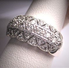 Vintage Diamond Wedding Ring Band Art Deco by AawsombleiJewelry, $1850.00