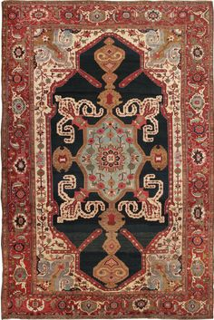 Antique Heriz Serapi Persian Rugs 44177
