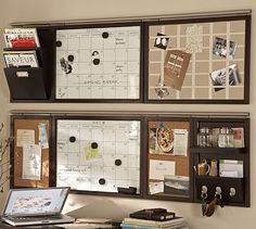PB organization.  Dry erase calendar, cork boards and mail cubbies.