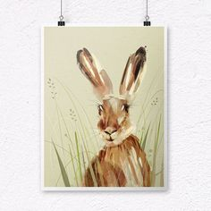 Hare Painting. Hare Print. Hare Gift. Woodland Animals by