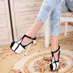 Fashion Stiletto T Strap High Heel Shoes.  Love these too!