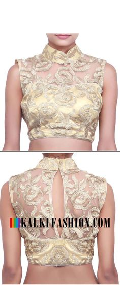 Buy online at: http://www.kalkifashion.com/beige-blouse-featuring-in-zari-cut-work-only-on-kalki.html Free shipping worldwide.