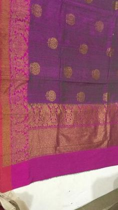 magenta orchid Banaras Dupion silk with zari border and floral butties with antic gold zari